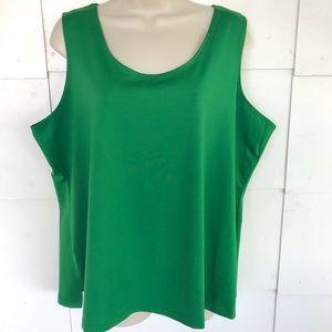 Susan Graver Green Sleeveless Cami Tank Top Sz 1X
